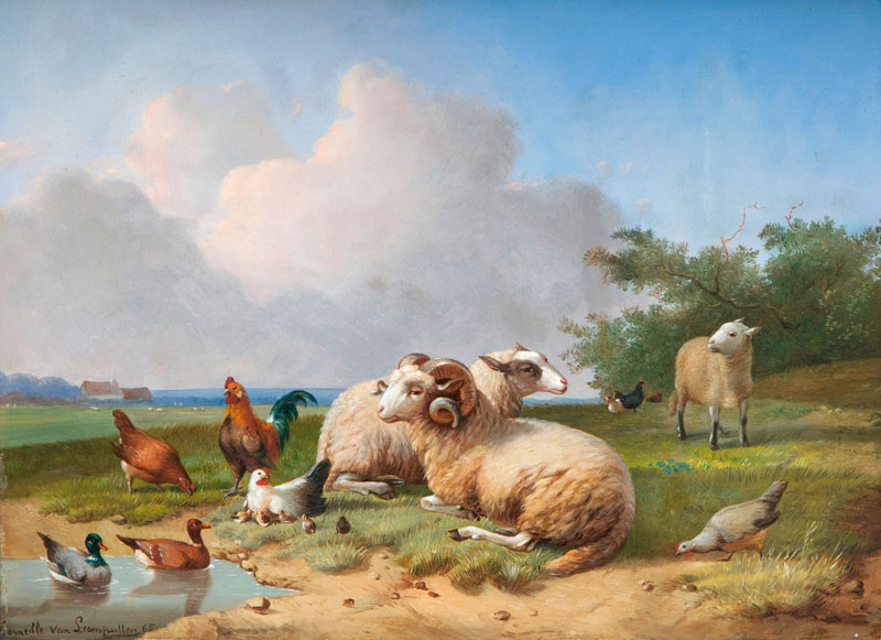 Sheep and Poultry by a Pond