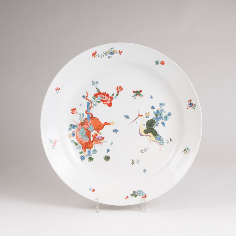 A rare large plate with a winged dragon