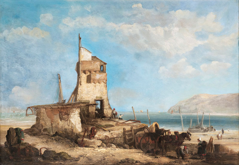 Fisherfolk by a Coast with Tower