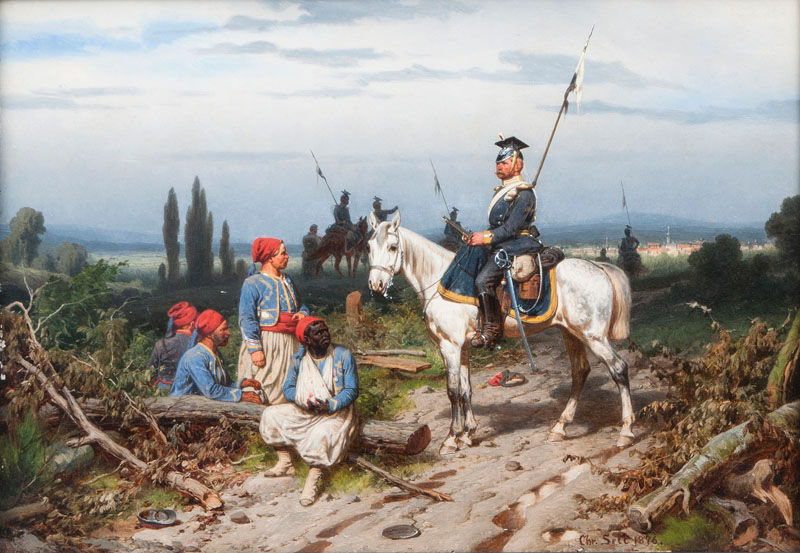 A Prussian Uhlan guarding French Zouaves