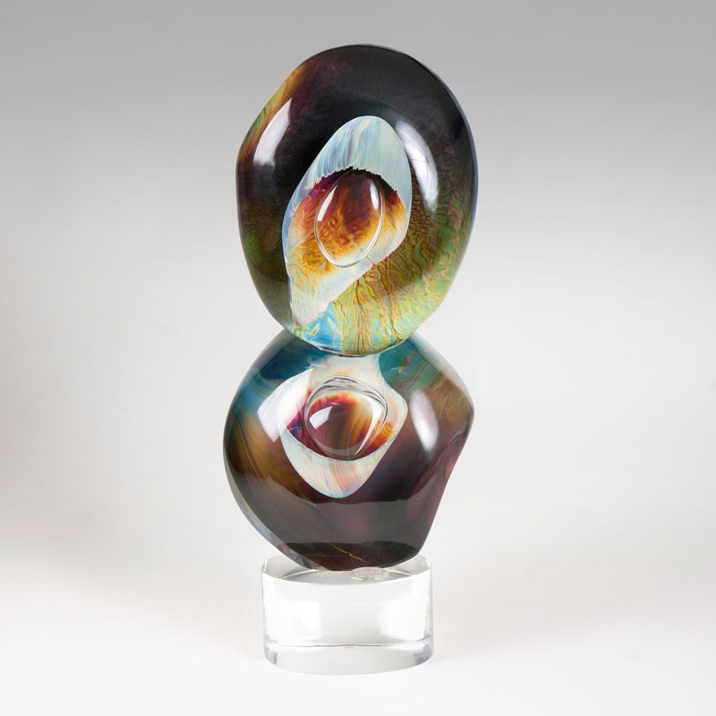 A Murano glass sculpture 'Balancing Rocks'