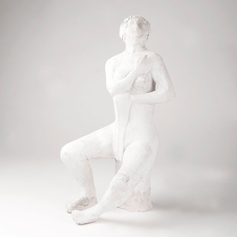 A plaster model 'Sitting female with towel'