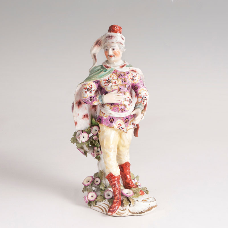 Seltene Porzellanfigur des 'David Garrick in der Rolle des Tancred'