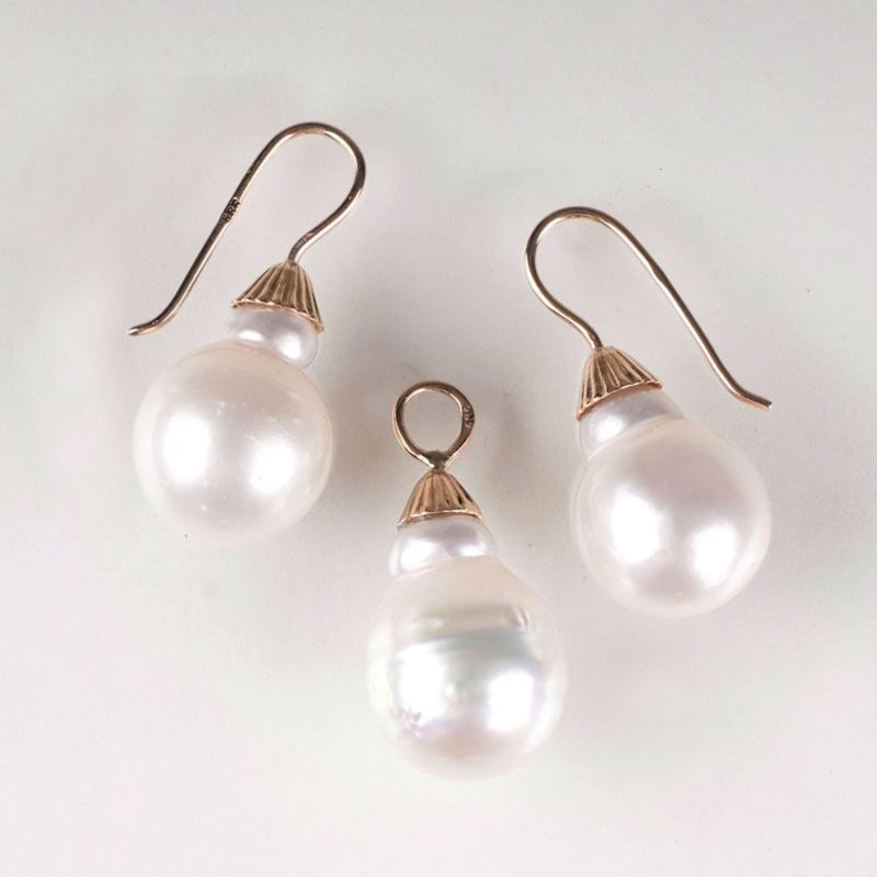 A pair of Southsea pearl earrings with pendants