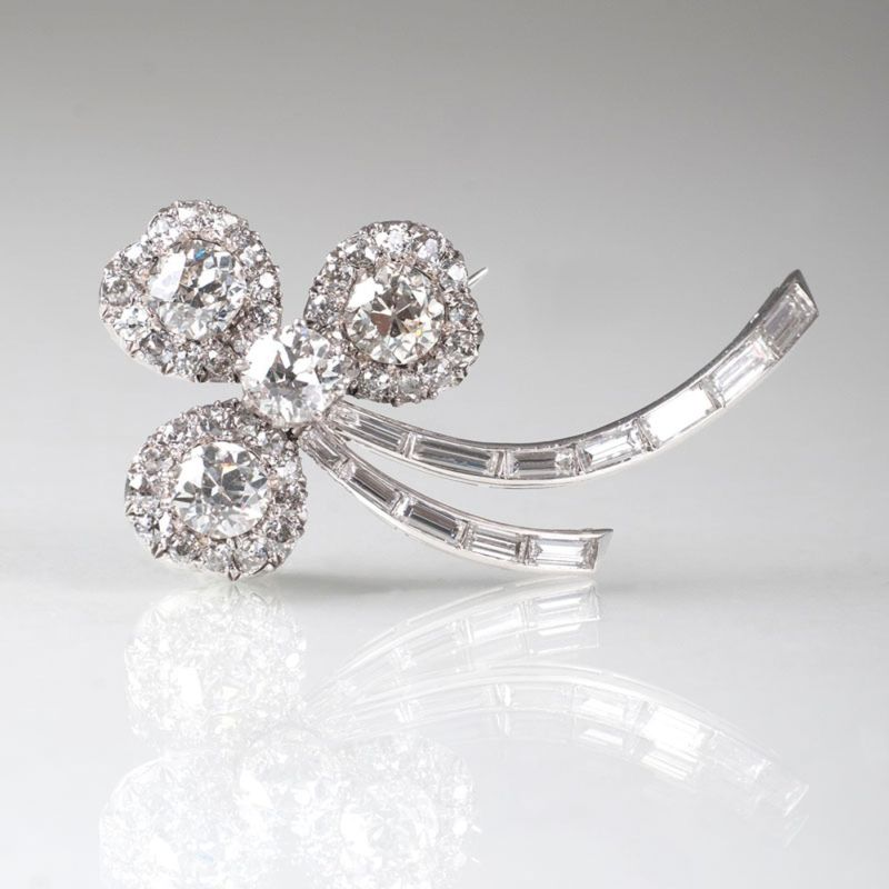 A brooch with old cut diamonds
