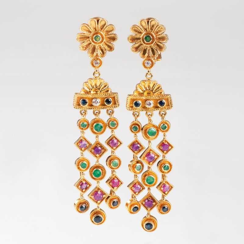 A pair of earpendants 'Byzantine style' by LALAoUNIS