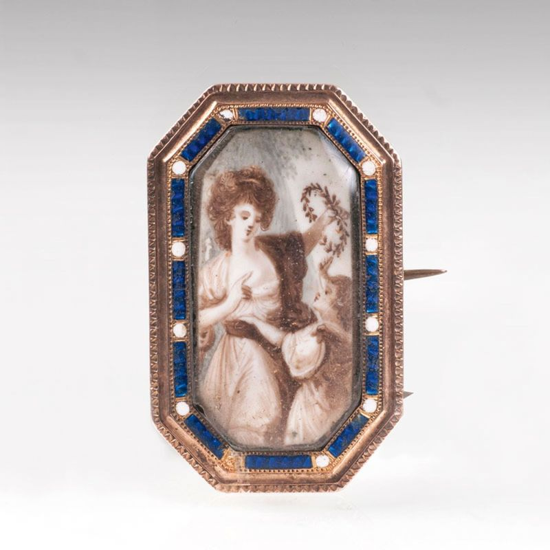 A classical brooch with sepia miniature painting