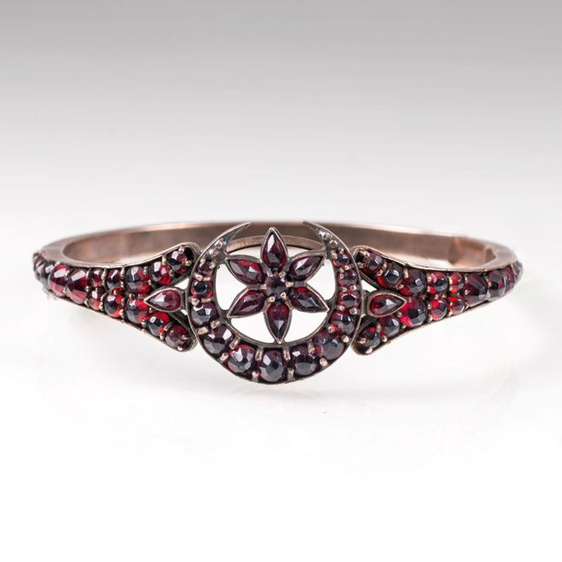 An antique garnet bangle bracelet