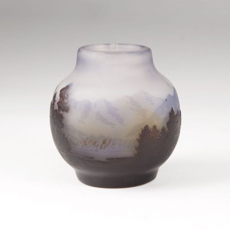 A small bellied Art Nouveau vase with mountain scenery