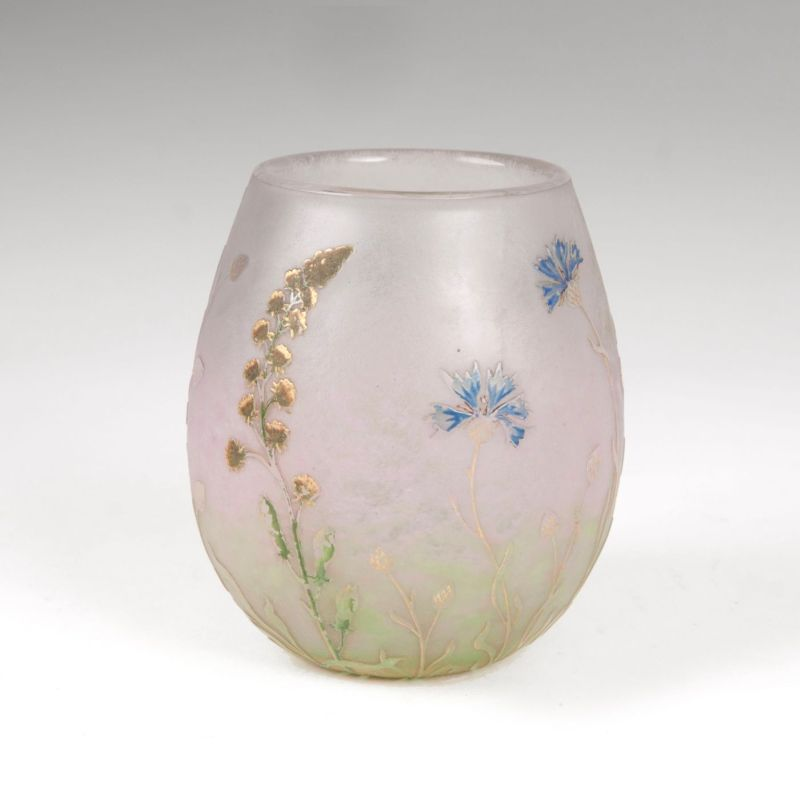 An Art Nouveau miniature vase with decor of field and meadow flowers