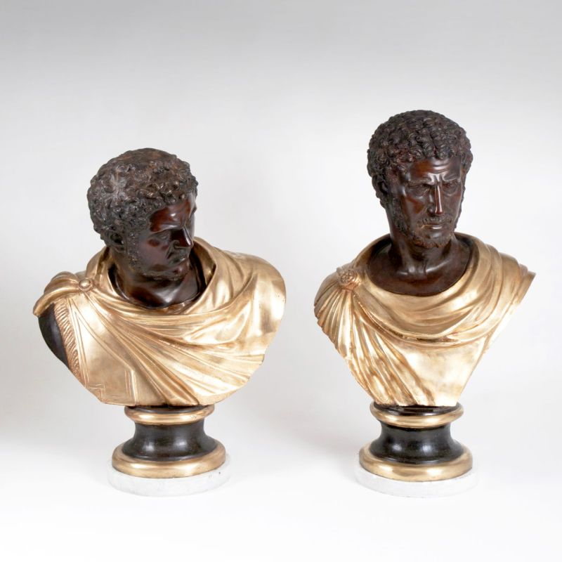 A pair of Roman Emperor Busts of Caracalla
