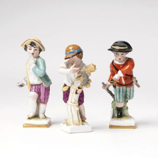A set of 3 allegorical figures as children from the series '12 months'