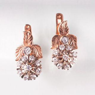 A pair of russian diamond earrings
