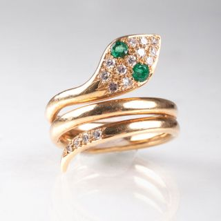 A Vintage goldring 'Snake' with diamonds and emeralds