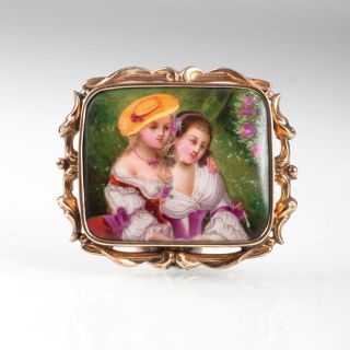 A Biedermeier brooch with porcelain miniature