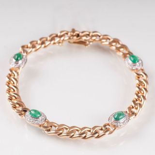 A curb chain bracelet with emeralds cabochons and diamonds