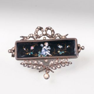A french classical brooch with enamel painting and seepearls