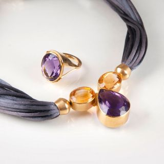 An amethyst citrin necklace with ring by Birge Mundt-Nissen