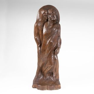 A wooden sculpture 'Mary and Elizabeth'