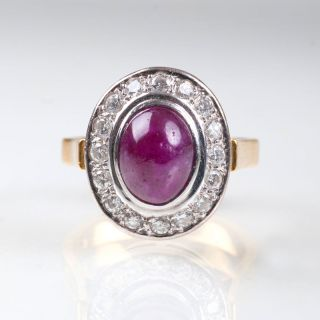 A ruby ring with diamonds