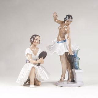 Two porcelain figures 'Ballerina and female dancer from Pompeji