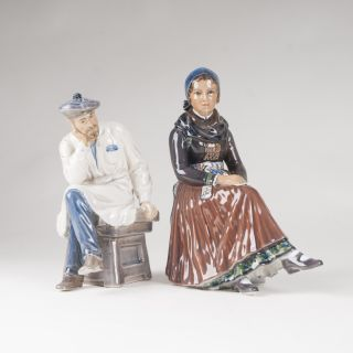 Two porcelain figures 'Sculptor and girl from Amager'