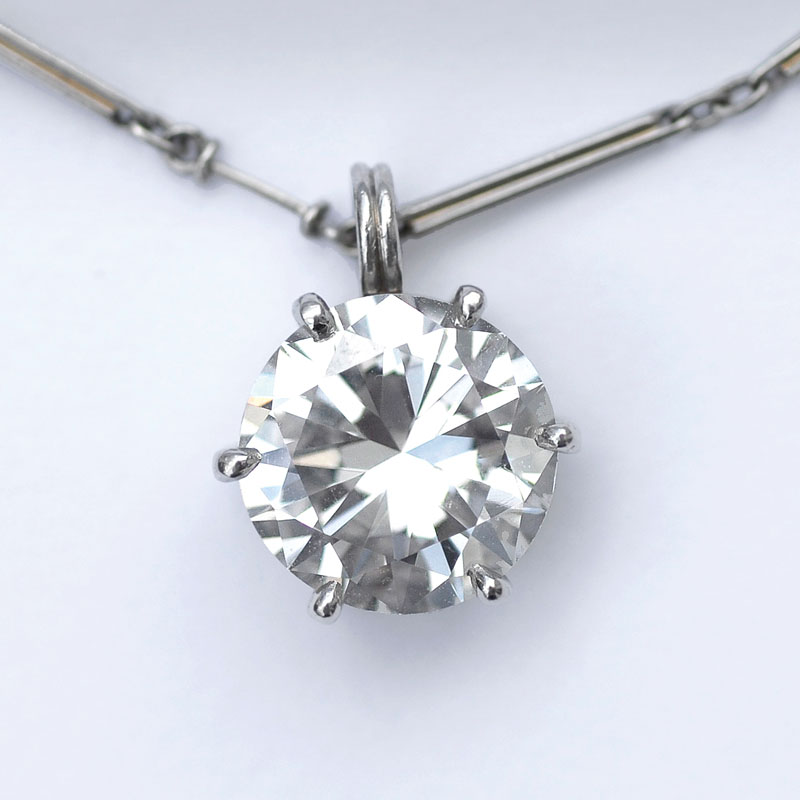 A highcarat solitaire pendant with necklace