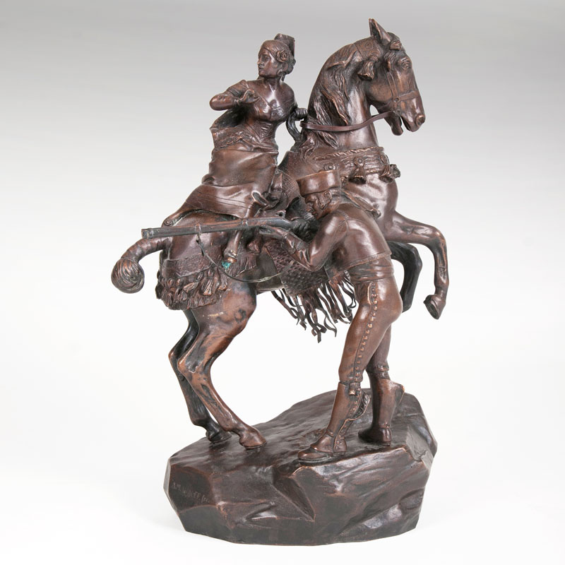 A very rare bronze sculpture 'Chased'