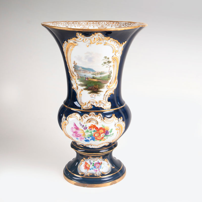 A topographical cobalt vase with view of Pillnitz Palace