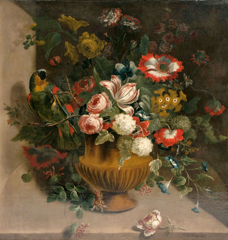 Vase of Flowers with Parrot