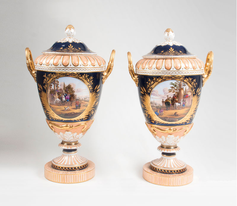 A pair of large so-called 'Weimar vases' with cobalt blue ground and riding scenes
