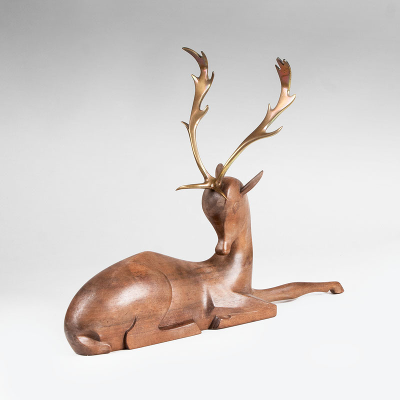 A sculpture 'Lying deer'