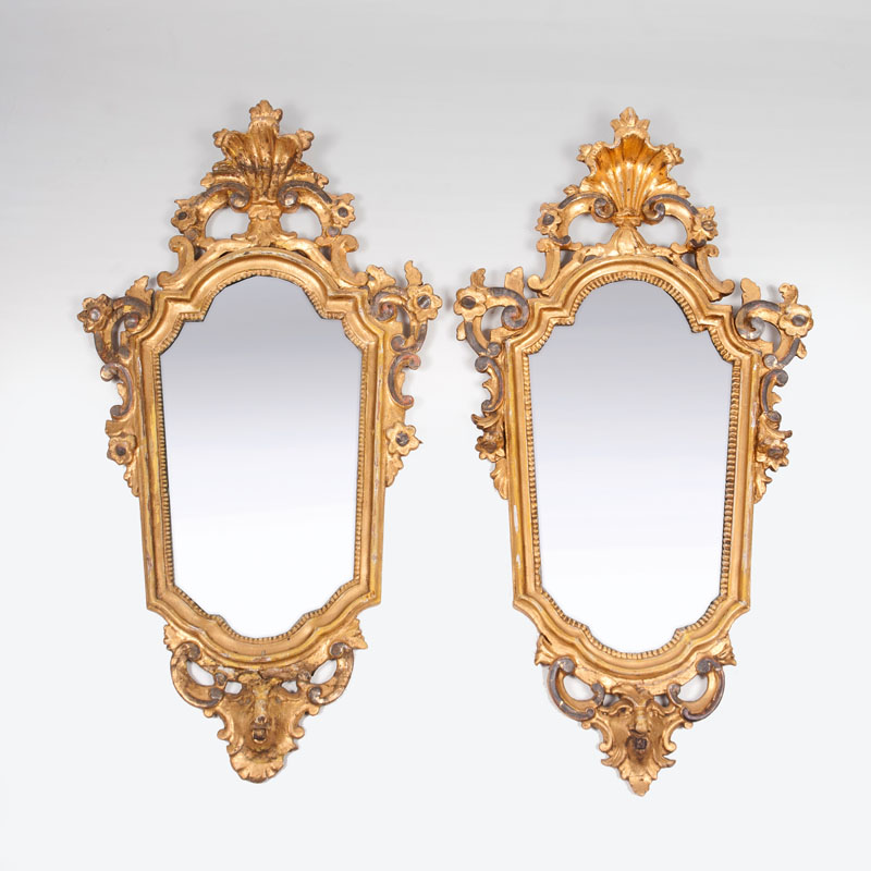A pair of late-baroque mirrors 'au mascaron'