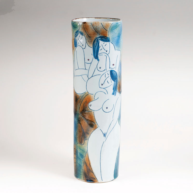 A tall Chinese porcelain vase with female nudes