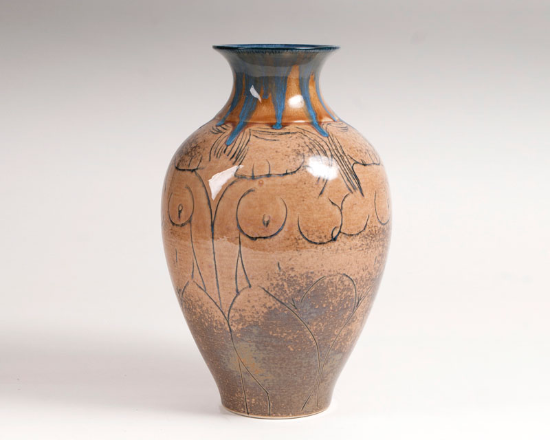 A modern Chinese porcelain Vase with stylized female nudes