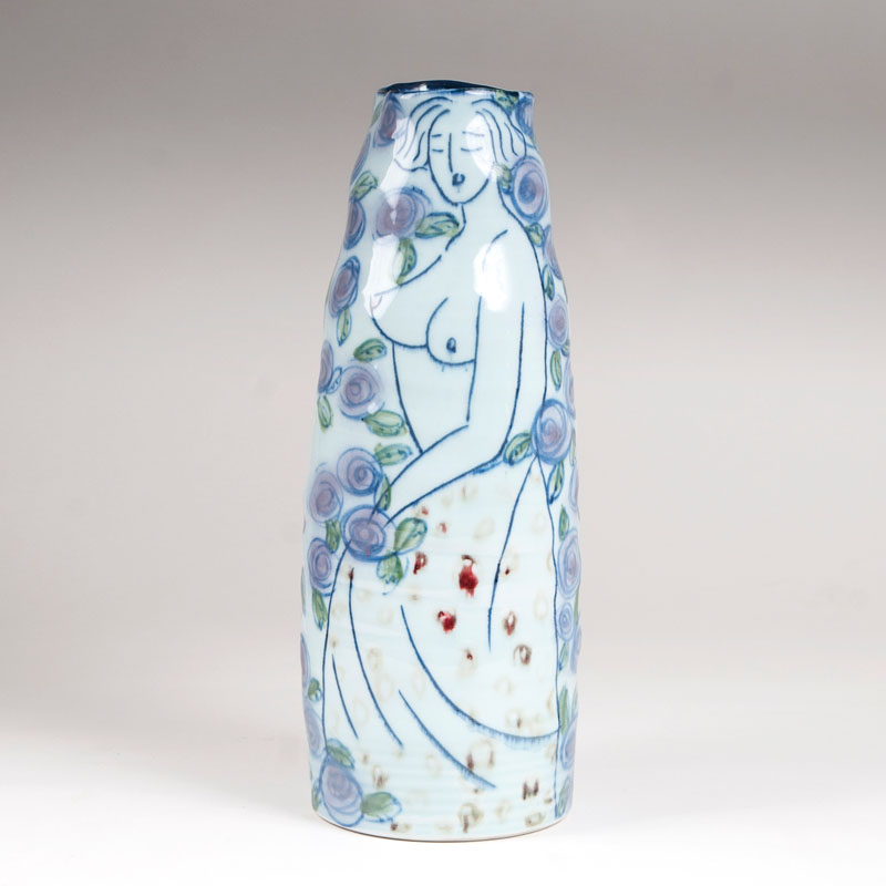 A modern Chinese porcelain Vase with female nudes