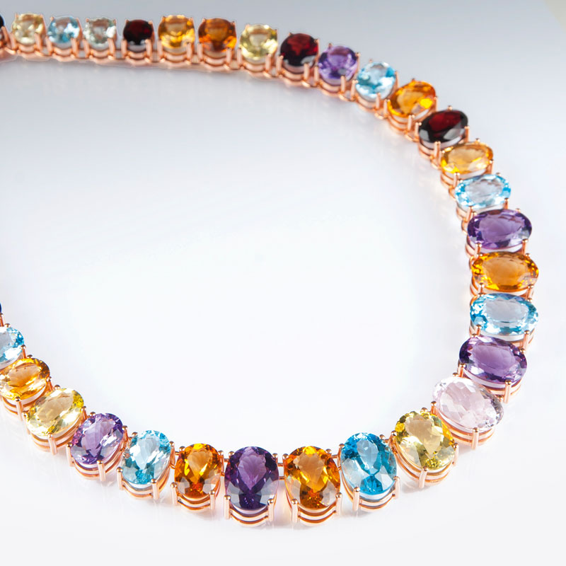 A highcarat, colourful necklace with precious stones