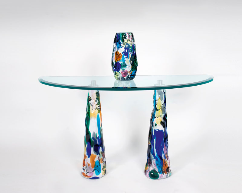 A Murano glass console table with vase