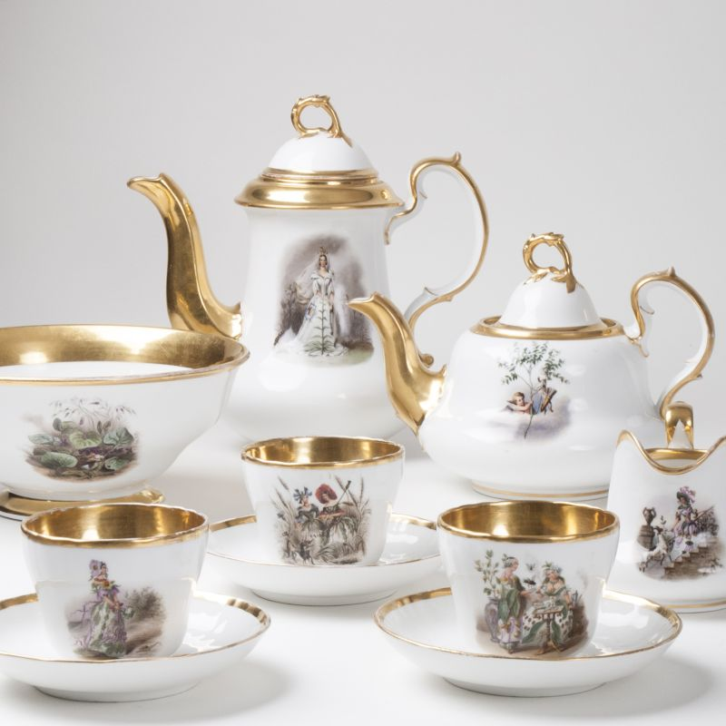A Berlin Biedermeier-Coffee-Service with fairytale motifs for 6 persons