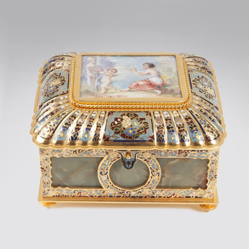 A magnificent onyx casket with cloisonné and porcelain painting