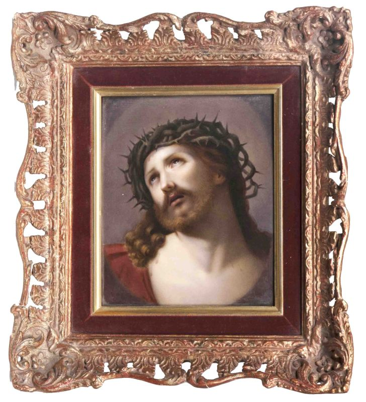A porcelain plaque 'Jesus with Thorn Crown'