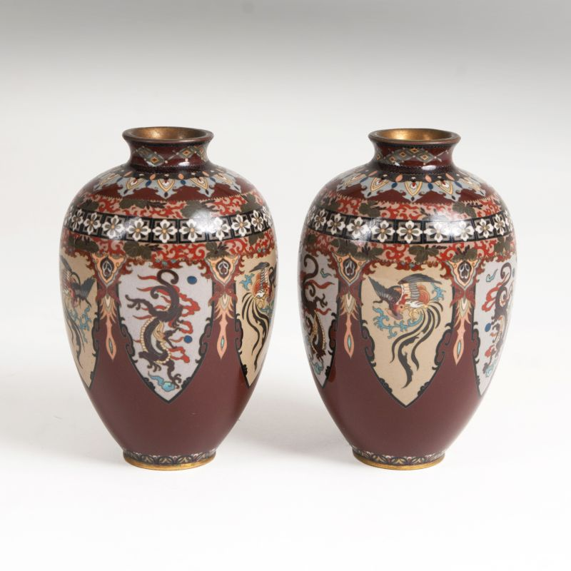 A pair of ovoid Cloisonné vases