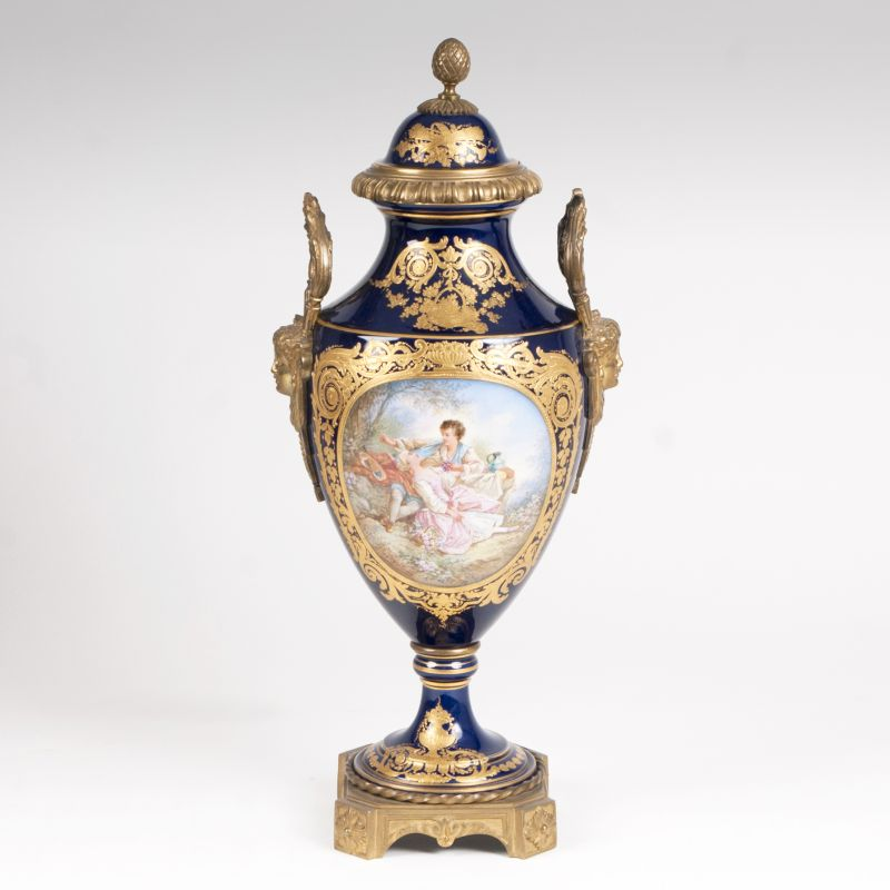 A bronze mounted vase in Sèvres style with pastoral scene