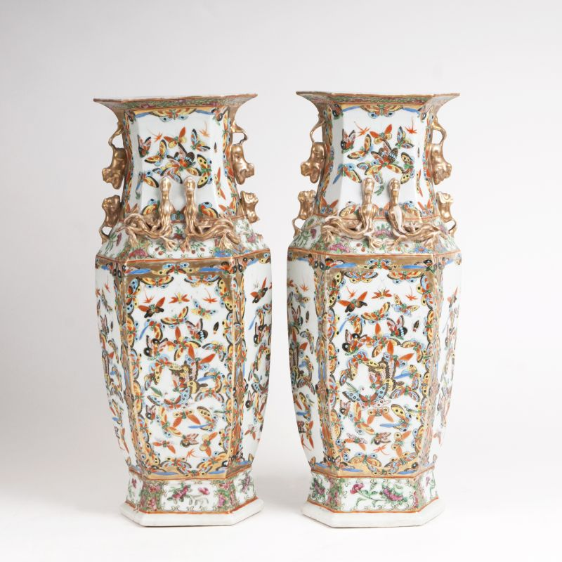 A pair of Kanton vases with butterflies