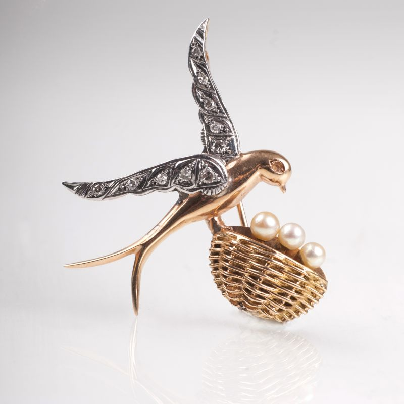 A Vintage diamond pearl brooch 'Bird's nest'