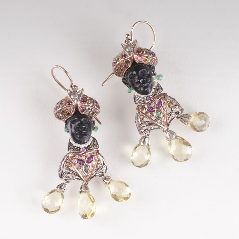 A pair of earrings 'Moretto' with precious stones