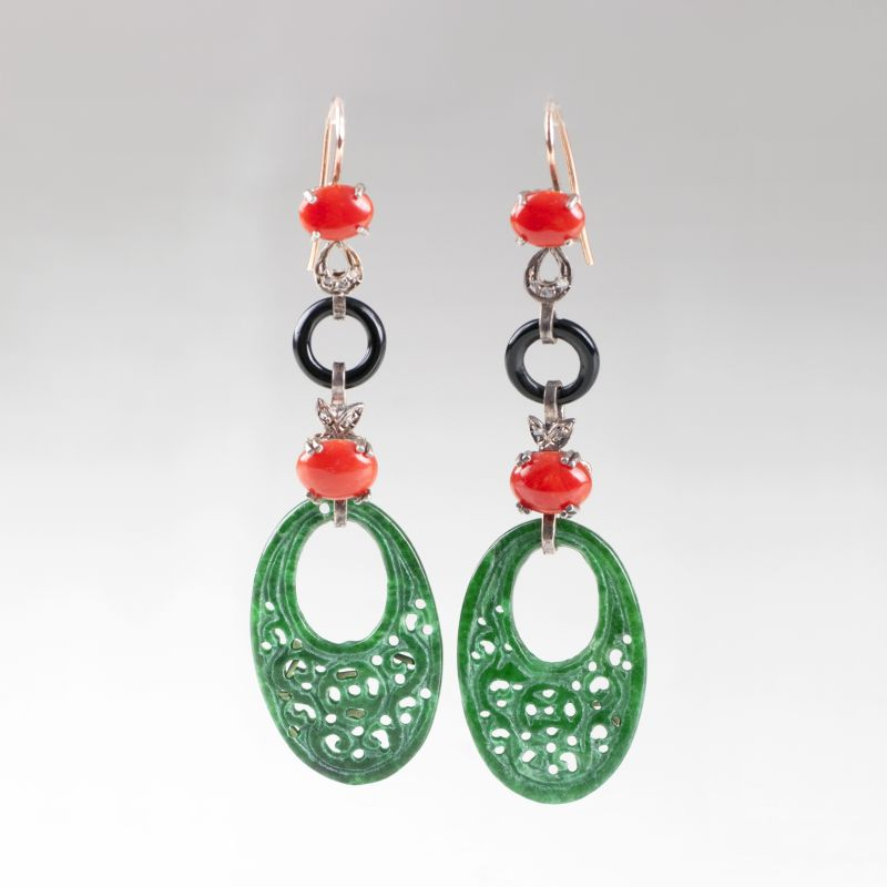 A pair of jade coral earpendants