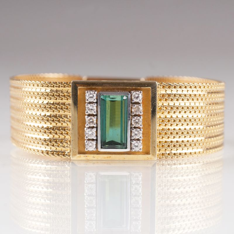 A Vintage golden bracelet with tourmaline and diamonds