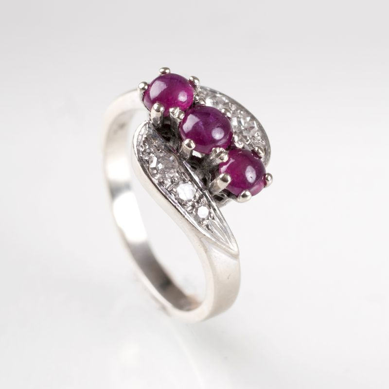 A small Vintage ruby diamond ring