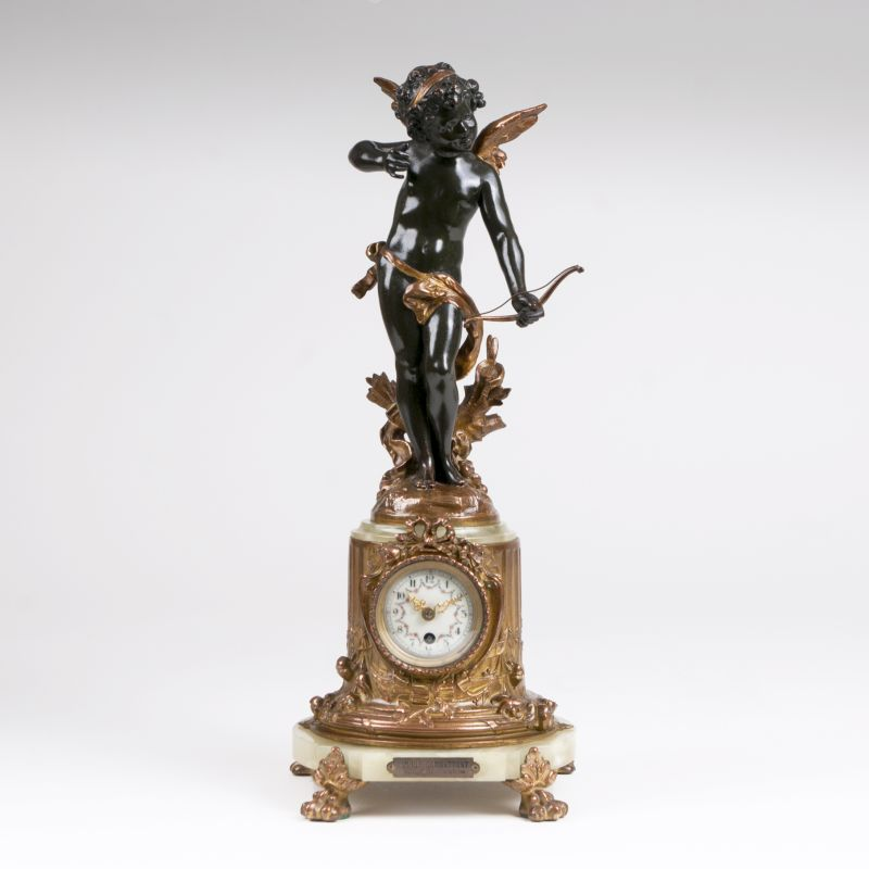 A Napoleon III mantelclock with Cupid